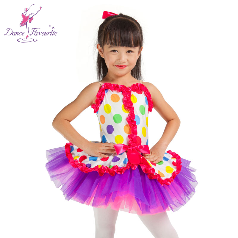 Dance Favourite Bright polka dot printed top bodice girl ballet tutu, hot selling child stage performance ballet tutu