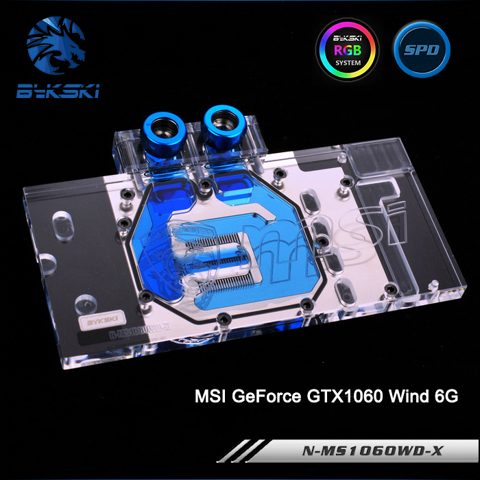Bykski N-MS1060WD-X, Full Cover Graphics Card Water Cooling Block RGB/RBW for MSI GeForce GTX1060 Wind 6G image