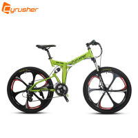 Cyrusher RD 100 Orange Green Full Suspenion 24 Speeds Folding Mens Mountain Bike Bicycle 17 Inch