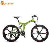 Cyrusher RD 100 Orange Green Full Suspenion 24 Speeds Folding Mens Mountain Bike Bicycle 17 Inch