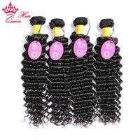 Queen Hair Peruvian Deep Wave Hair Bundles Deal 4pcs Lot Remy Human Hair Weave Natural Color