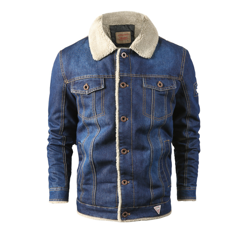 Robmoda Winter Fleece   Parka   Men Jeans Clothing Jackets For Men 2019 Fleece Solid Color Turndown Collar Plus Size L-6XL Hot Sale