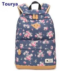 Tourya Vintage Canvas Women Backpack School Bags Schoolbag For Teenagers Girls Floral Printing Travel Laptop Bagpack Mochila