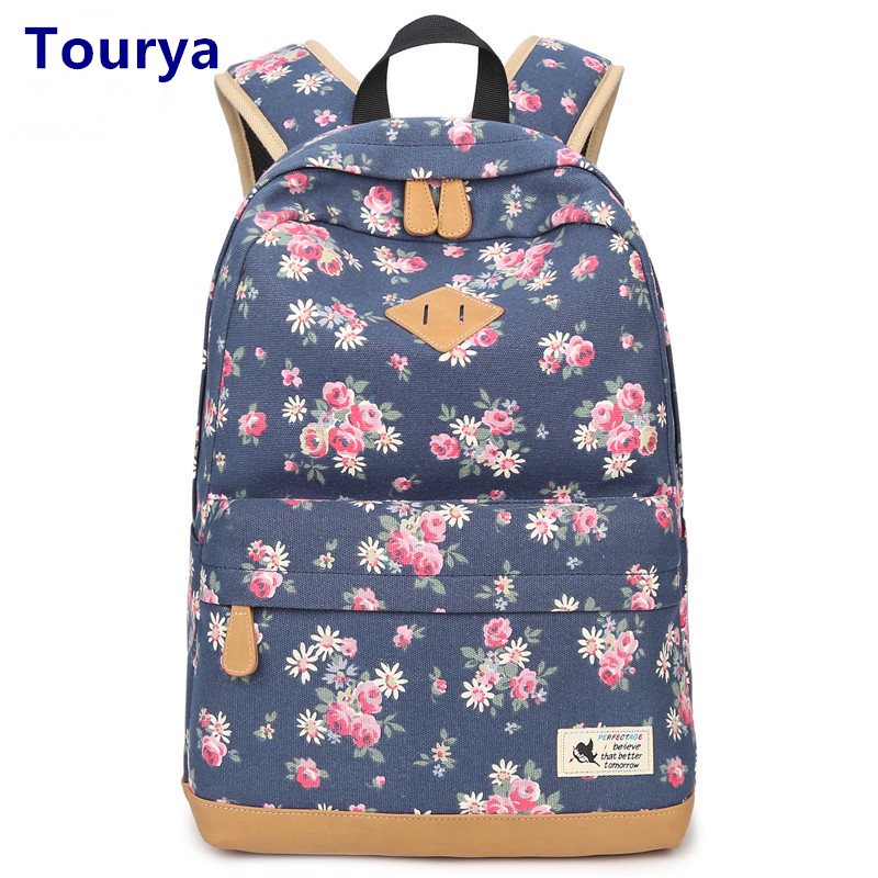 Tourya Vintage Canvas Women Backpack School Bags Schoolbag For Teenagers Girls Floral Printing Travel Laptop Bagpack Mochila