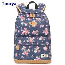 Винтажный холщовый рюкзак Tourya для женщин, школьные ранцы для девочек подростков, дорожные сумки для ноутбука с цветочным принтом