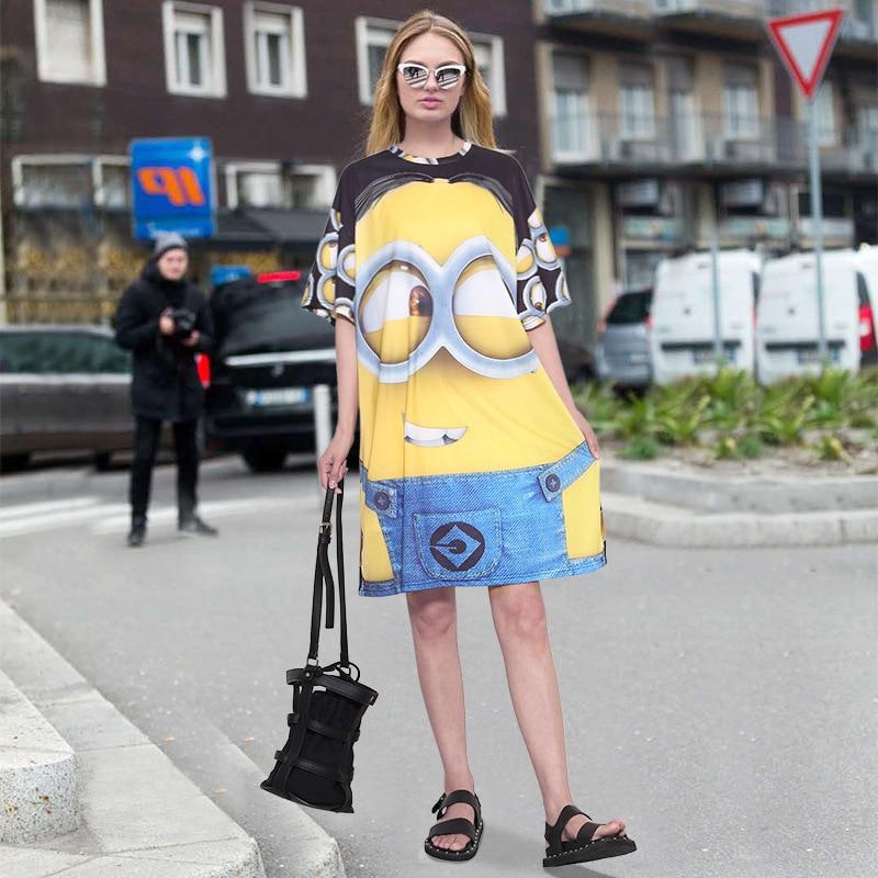 Anime yellow cartoon dress women street style casual plus size loose dress large size brazil summer midi t shirt dress 2017