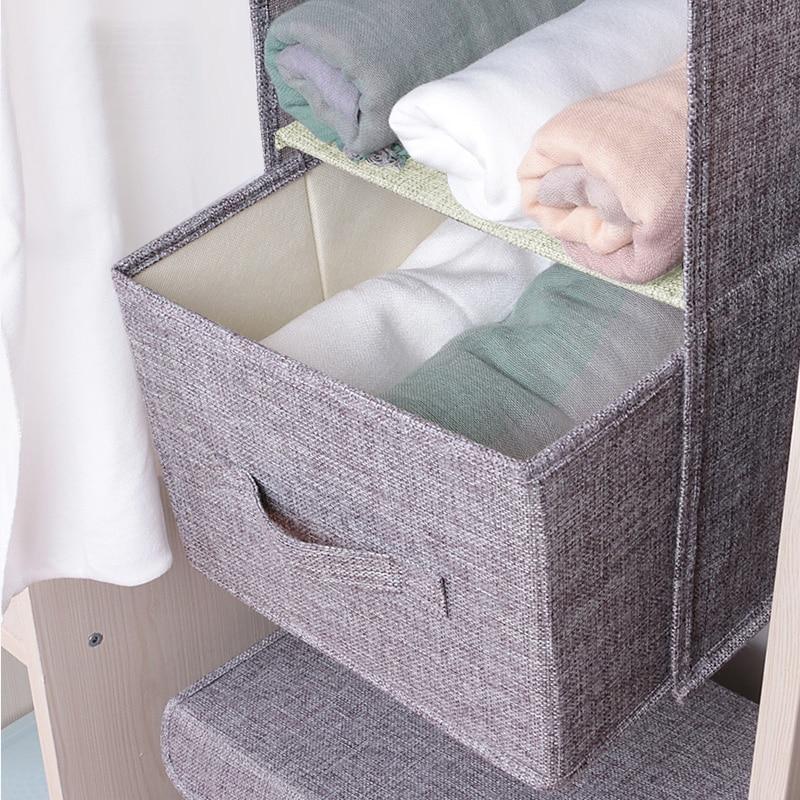 Image 5 - Cotton Closet Wardrobe Cabinet Organizer Hanging Pocket Drawer Clothes Storage Clothing Home Organization Accessories Supplies-in Hanging Organizers from Home & Garden