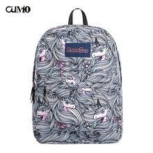 Ou Mo brand striped unicorn laptop anti theft backpack feminina Women school Bag teenagers man computer Backpack