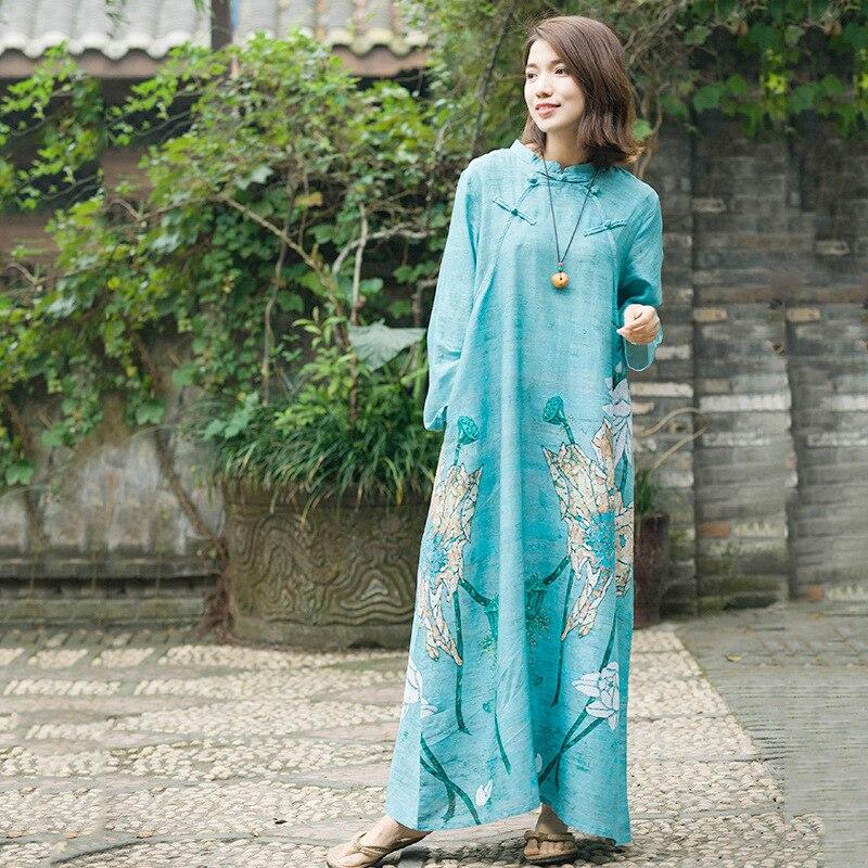 De Robe Col Style National Ciel Femmes Casual Féminine Lâche Imprimé Pied Pu Printemps Dames Chinois Robes Automne Qipao IqXvwq