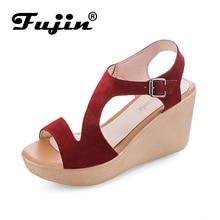 Fujin Brand Summer Buckle Womens Sandals Velvet Flock Fish Mouth Fashion High Heel Platform Open Toes Women Shoes