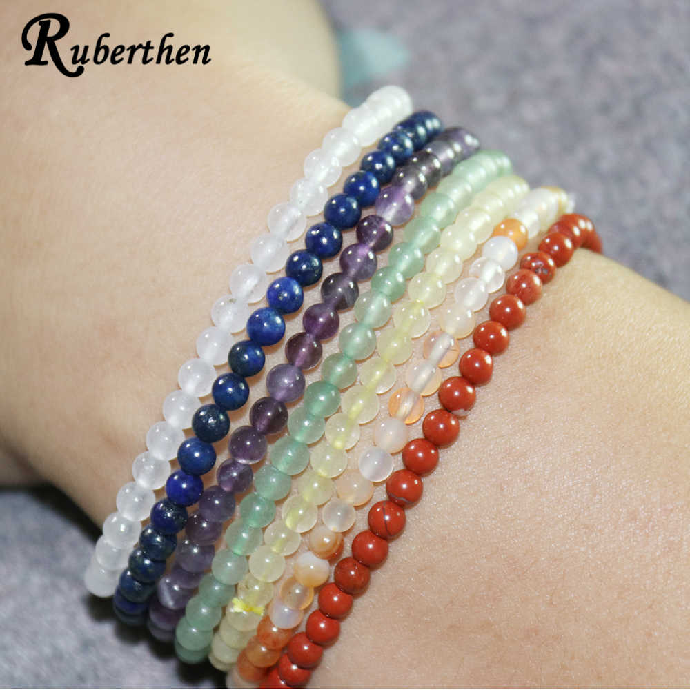 Ruberthen Balance Bracelet Set Mini Gem Stone Energy Bracelets 7 Chakra Yoga Bracelet 7 Pieces Bracelet Best Birthday Gift