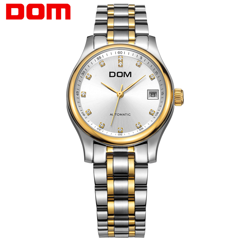 DOM mechanical woman watch top brand luxury waterproof stainless steel women watches crystal hombre G-95G-7M pechoin 95g