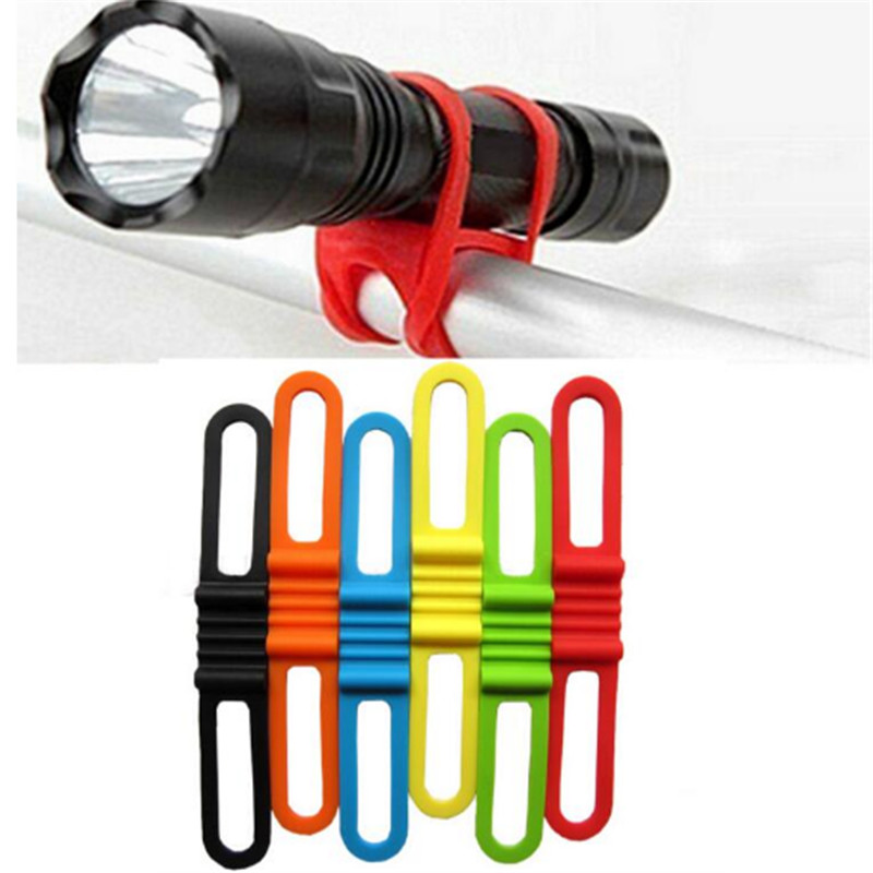 6 Colors Bicycle Handlebar Tape Silicone flashlight clip For Mountain bike Red Handlebar fixing strap Bike Sticky Tie Fixed Item