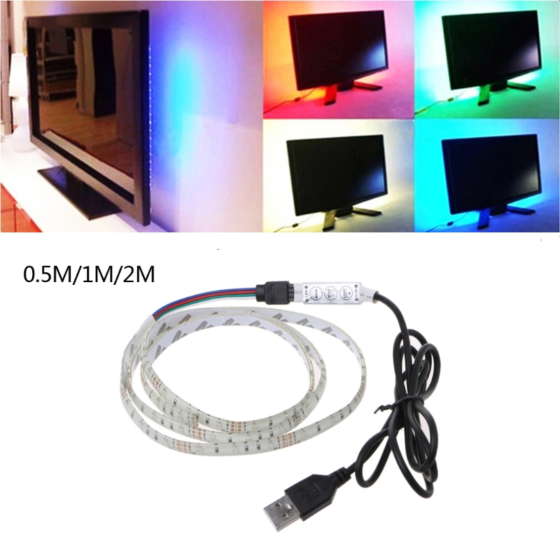 5V 3528 RGB USB 30 LED/m Waterproof Flexible Strip Light TV Back Lighting Kit+3 Key RGB Controller