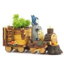 Mini Totoro Locomotive Potted Garden Miniatures Terrarium Figurines Hayao Miyazaki Toy Resin Crafts Action FigureS Toys 12W