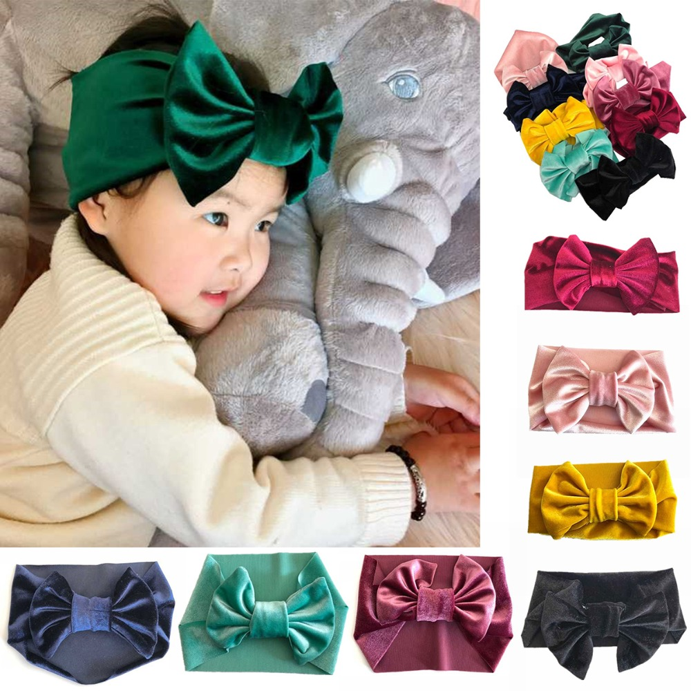 New Fashion 8colors Big bowknot Headband baby girl headbands Bow hair band children kid Cotton turban Head Wrap Hair Accessories