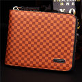 Brand Men Wallets Cowhide Genuine Leather Purse With Zipper Purses Pockets Short Casual Plaid Male Card Holder Carteira