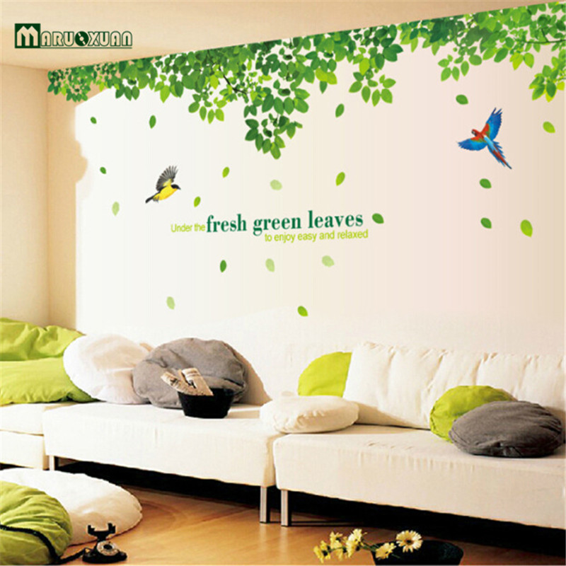 2016 Hot Removable Green Tree Leaves Bird Wall Vinyl Sticker Art Mural Decal Home Decor ...