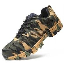 AMSHCA/Мужская защитная обувь из дышащей сетки со стальным носком, Рабочая обувь с прокалывающейся пластиной, неразрушимая обувь, большие размеры 36-47