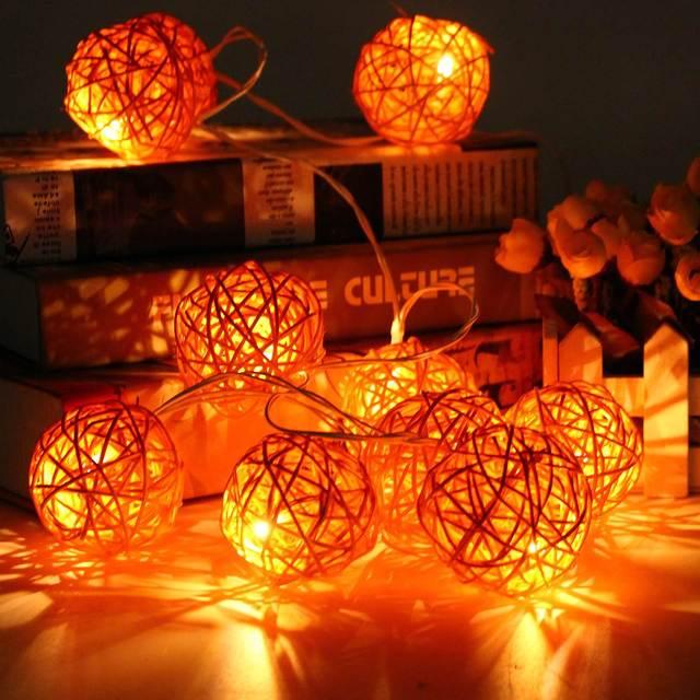 4.7 m 35 Bolas de Ratán Mimbre Fiesta de Navidad de La Boda de Hadas del LED Luces de Cadena Impermeable Llevó Al Aire Libre Decoración de la Luz 220 V Enchufe de LA UE