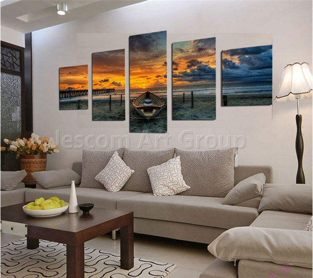 wall painting boat sunset beach home decor living room or bedroom