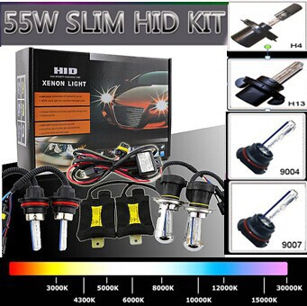 Free Shipping Xenon HID Kit Car Headlight Slim Ballast 55W H4 H13 9004 9007 Bulb