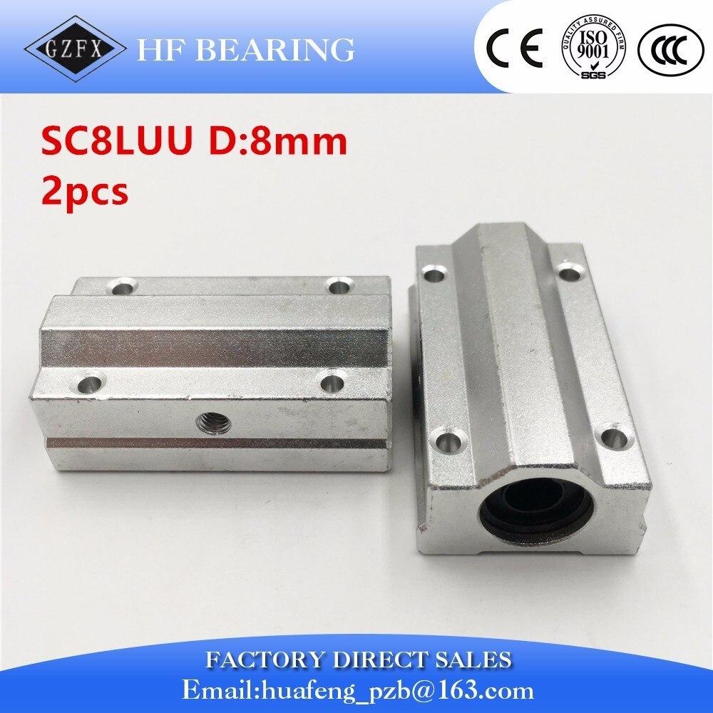 все цены на  2pcs SC8LUU SCS8LUU 8mm long type Linear Ball Bearing Block CNC Router  онлайн
