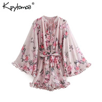 Vintage Floral Print Sashes Ruffled Chiffon Playsuits Women 2019 Fashion V Neck Flare Sleeve Pleated Rompers Casual Body Femme