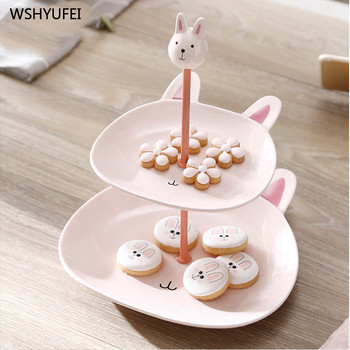 Double fruit bowl personality shelf creative multi-layer cute cartoon rabbit panda bear animal shape dessert table display stand