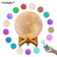 Tanbaby 3D Print Moon Lamp USB Led Lights Lunar Dimmable Night Desk Light 16 Colors With