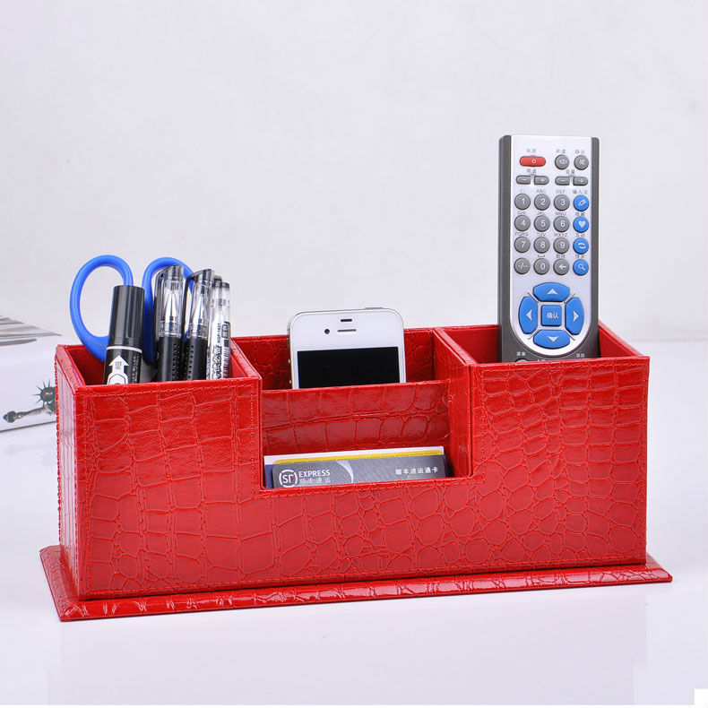 wooden struction leather surface desk multi function stationery organizer with double penpencil holder box case croco