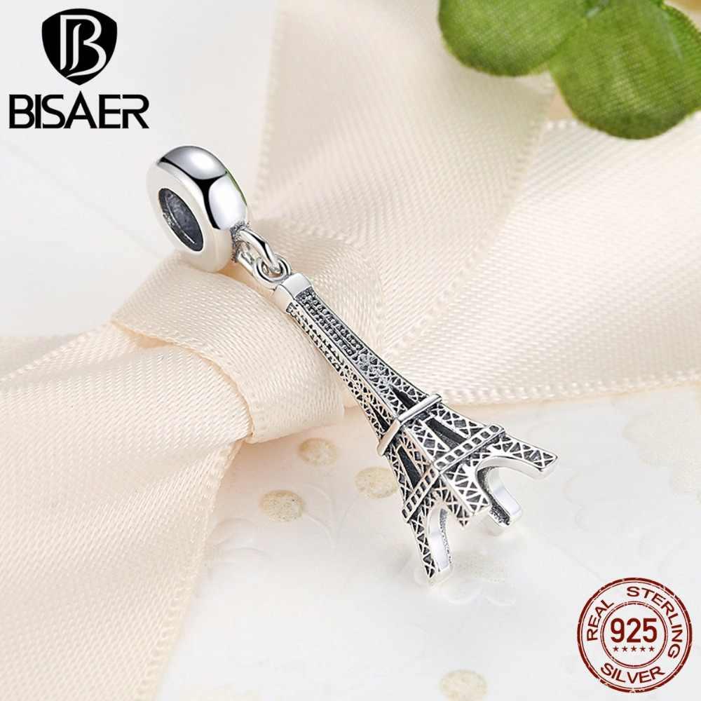 Подвеска из стерлингового серебра 925 пробы, подвеска в виде Эйфелевой башни, подходящая оригинальная подставка, ювелирный браслет сделай сам