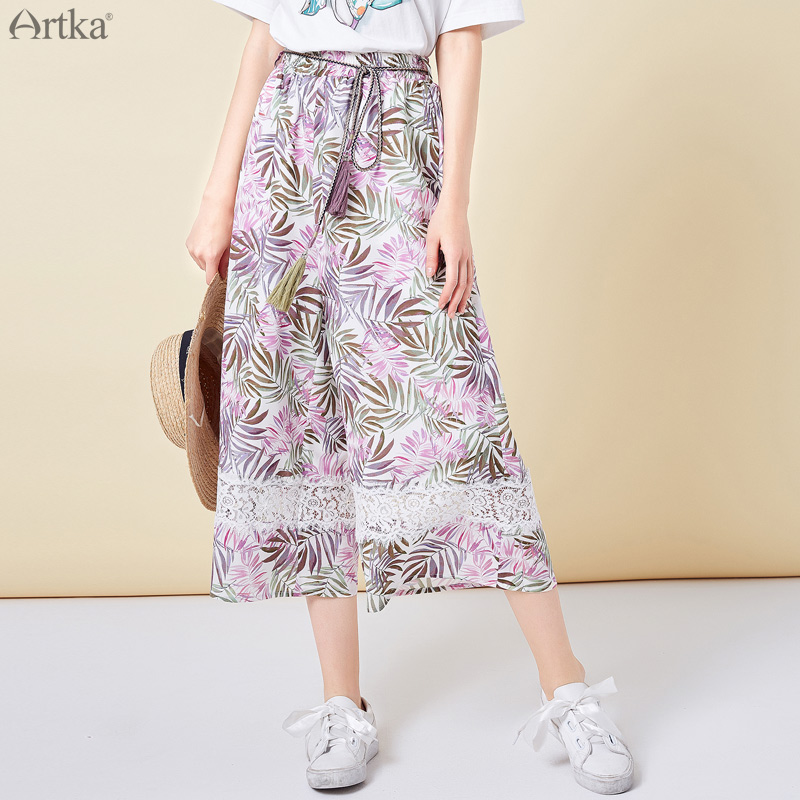 ARTKA 2019 Summer New High Waist Wide Leg Pants Women Casual Loose Ankle length Pants Elegant Printing Flower Trousers KA10093C