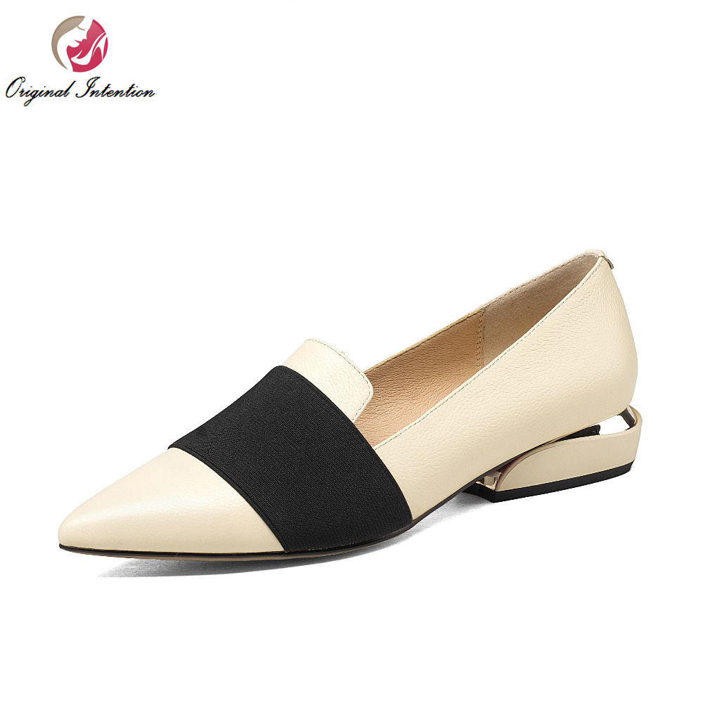ФОТО Original Intention Women Casual Shoes Pointed Toe Strange Style Heels Elegant Black Beige Red Shoes Woman US Size 3.5-10.5