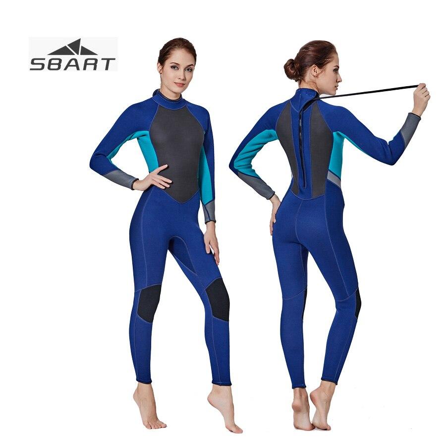 цена на SBART 3MM Neoprene Long Sleeve Female Wetsuit winter thick warm One Piece Back Zip Anti-UV Diving Suit Jumpsuit Snorkeling
