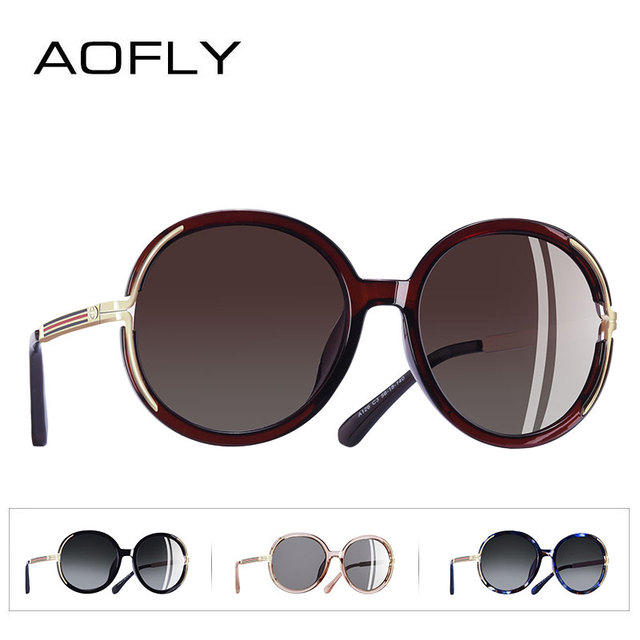 AOFLY BRAND DESIGN Vintage Oversized Sunglasses Women Metal Legs Polarized Sunglasses Round Lens Eyewear A126 3