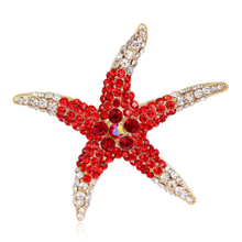 Beautiful Full Crystal Starfish Brooches Red Blue Green Pink Animal Sea Star Enamel Brooch Pin for Women Wedding Jewelry