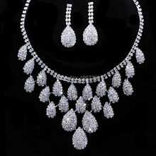 lot Shining Wedding Bridal Jewelry Sets Gift Set Tear Drop Necklace Set Jewelery Sets Crystal