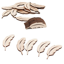 25PCS Feather Shape Wood Slices Embellishments Wedding Party Festival Event Table Decorations Wedding Confetti(China)