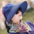 Mujeres Sun Caps Grandes Brim Sombreros de Paja con Pañuelo de Gasa Verano Protección UV Sombrero de Playa Casual