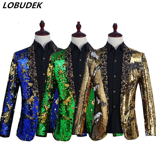 Sparkly Sequins 6 Colors Blazers Coat Men Stage Costume High quality Fashion Popular Jacket Outerwear Prom Singer Host Clothing