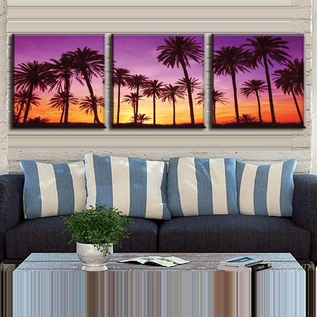 3 pcs set framed modern landscape canvas print wall paintings the palm grove ready to