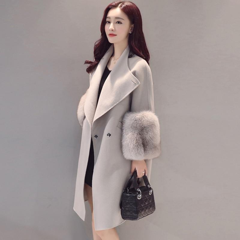 2017 Autumn Winter Woolen Coat Jackets Warm Wool Blend Faux Fur Sleeve Long Turn down Collar