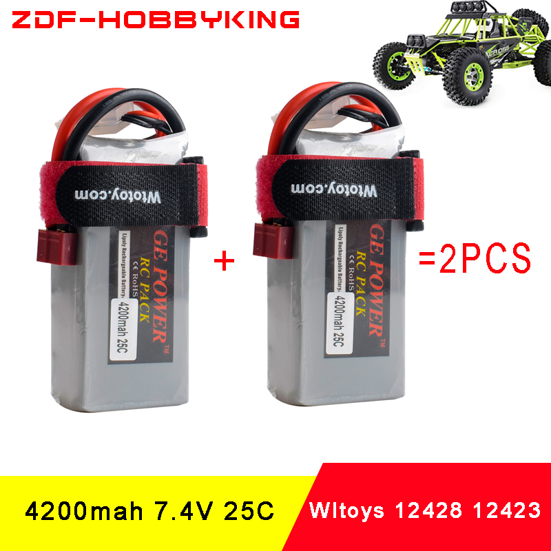 ZDF Good Quality 2pcs Rc Lipo Battery 7.4V 4200mah 2S 25C Max50C for Wltoys 12428 12423 1:12 RC Car Spare parts good quality atx6022 13l rev a3 rc
