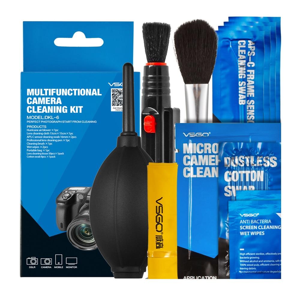 Nuevo kit de limpieza de cámara profesional Paquete de limpieza de lentes Pluma Sensor Sensor Cepillo de hisopo Lente Soplador de polvo Todo en uno Para Nikon Canon.