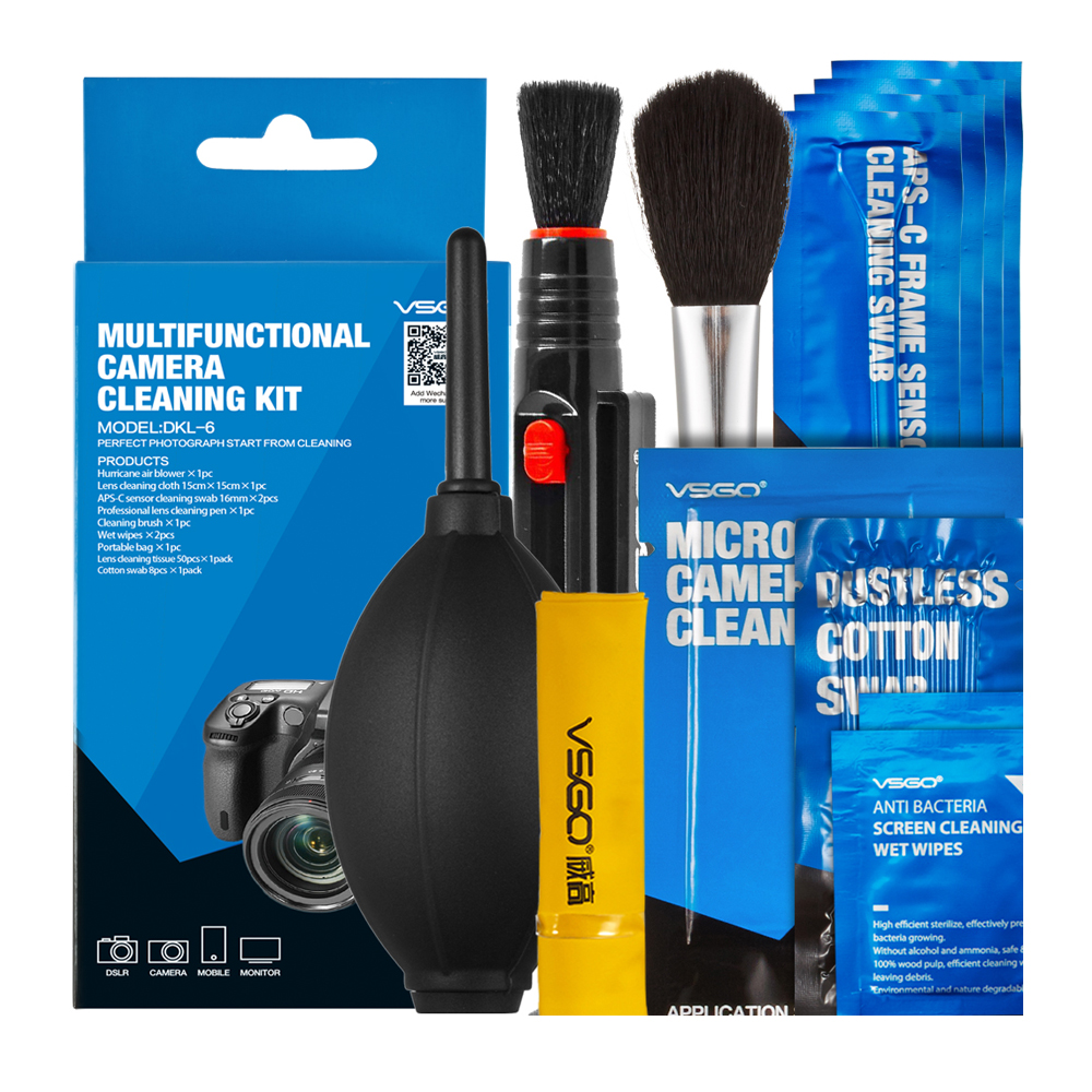 Brand New VSGO Professional Multifunctional Camera Cleaning Kit Lens Cleaning Pen Brush Swab Hurricane Air Blower All in One.
