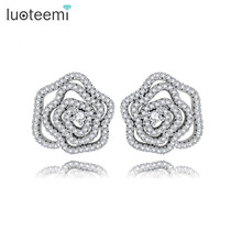 LUOTEEMI White Gold Plated AAA CZ Hollow Rose Flower Stud Earrings For Women Girls Brincos Wholesale