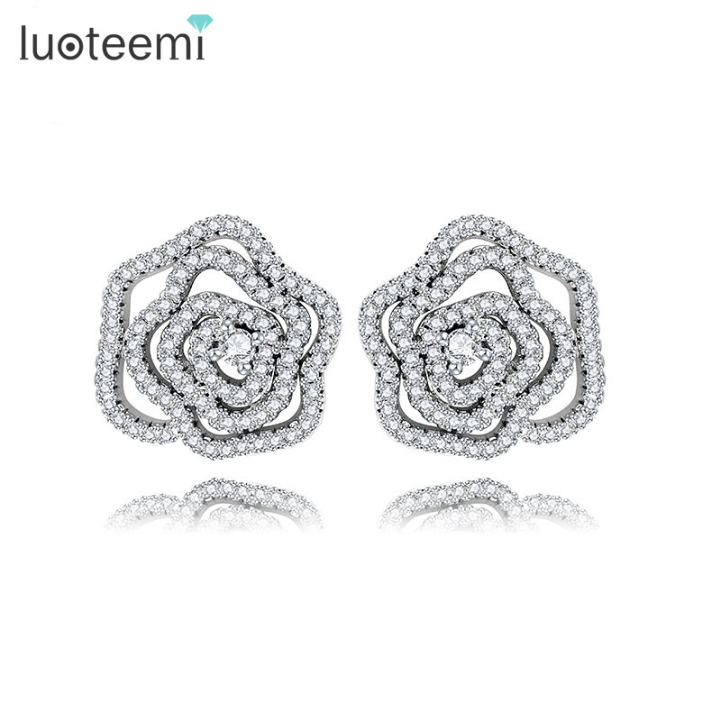 LUOTEEMI White Gold Plated AAA CZ Hollow Rose Flower Stud font b Earrings b font For