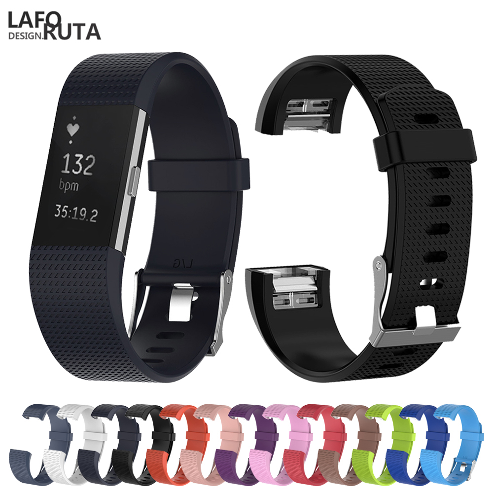 Sport Silicone Loop For Fitbit Charge 2 Band Strap Women Men Smart Watch Bracelet With Metal Clasp Classic  Bands For Charge2