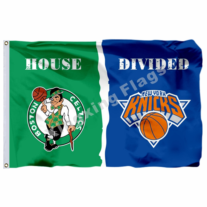 Boston Celtics New York Knicks House Divided Flag 3ft X 5ft Polyester NFL1 Banner Size No.4 144*96cm Custom Flag